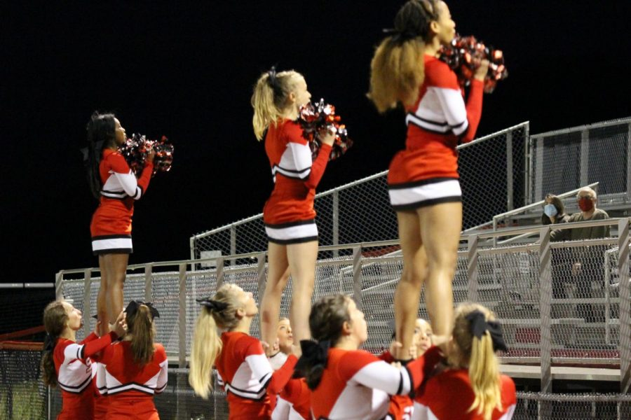 Susquehannock Cheerleaders root for their home team. Photograph by KC O'Neill