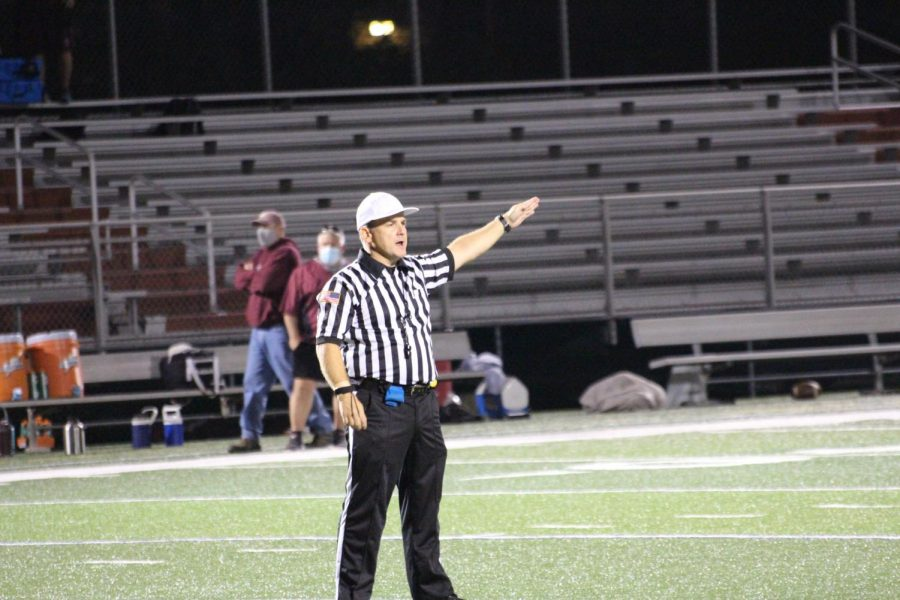 The referee announces a penalty. Photograph by Jacob Stroh
