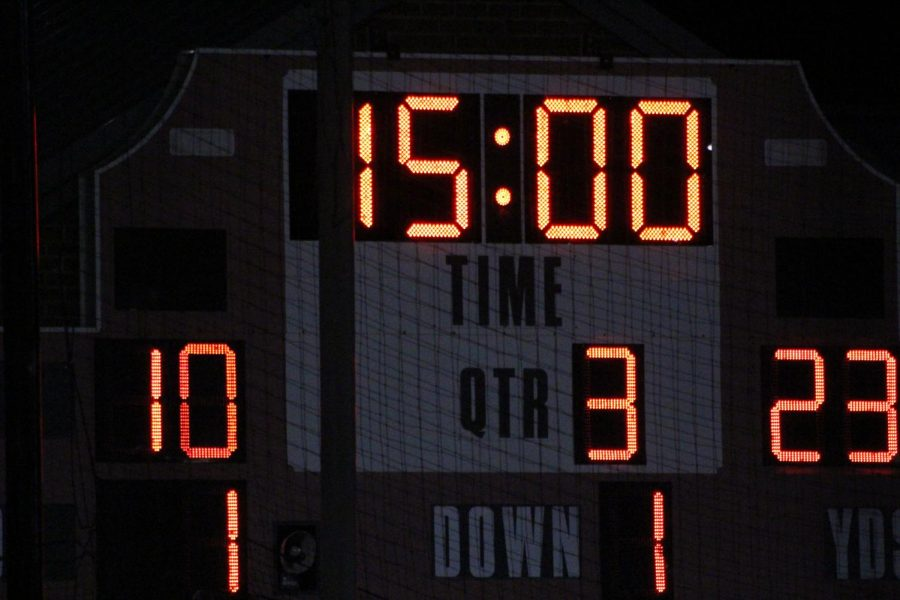 The scoreboard before they begin the second half. Photograph by Jacob Stroh