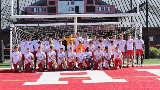 Boys soccer team poses for a team picture prior to the start of the season. Photograph Courtesy of Atticus Silbaugh