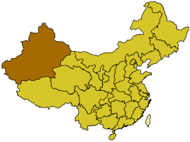 The highlighted red area is Xinjiang province where most  Uighur Muslims live in China.  Image Courtesy of Schaengel89~commonswiki via WikimediaCommons