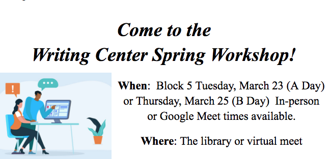 Upcoming Writing Workshop Flyer