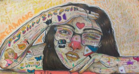 Bea Ricafort drew Tattoo on Self in art teacher Wes Myerss Drawing II course. Image Courtesy of Bea Ricafort via 20-21 Spring Arts Fair