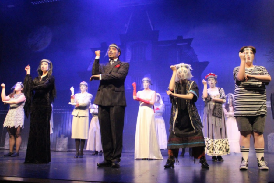 """The cast of The Addams Family dances in the opening number, """"When You're an Addams"""". Susquehannock Theatre put on three shows on April 30, May 1 and May 2. Photograph by Grace Hartenstein"""