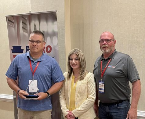 Officer Hanson was awarded the Model SRO Award for connecting with students and keeping us safe. Photograph courtesy of Dr. Sandra Lemmom