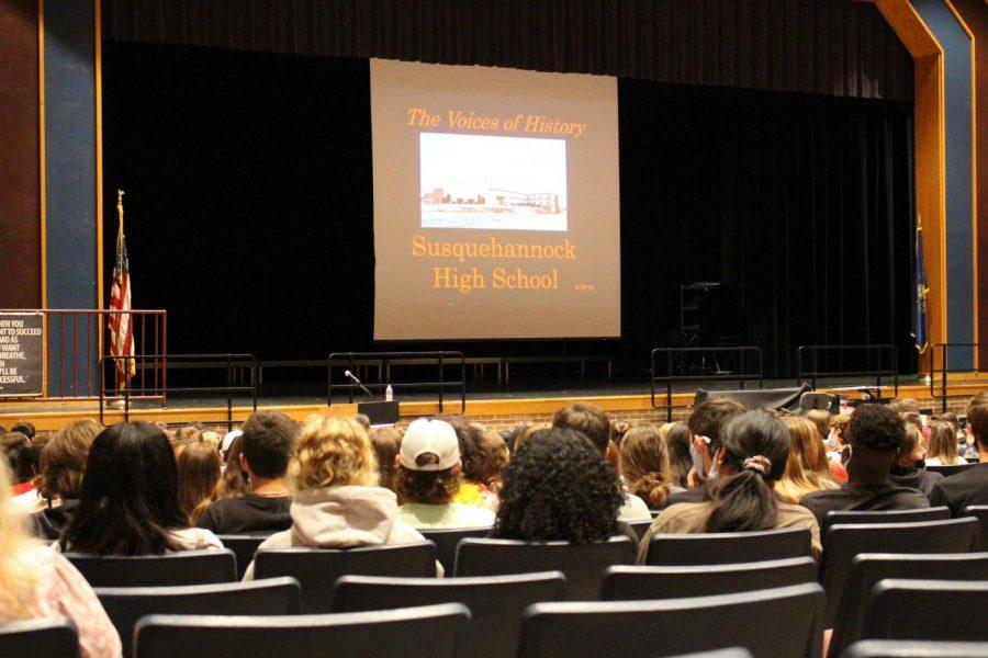 SHS students listen to Dr. McGough's presentation. Photograph by Ian Davis