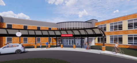 This is a digital rendering of what the main entrance to the high school could look like once the renovation project it complete.