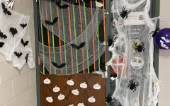 History teacher Heather Schoemakers homeroom students took first place honors in this years 2021 Fall Door Decorating competition. Their door included every students name from the homeroom, along with LED lights, bats, and fall colors. Photograph Maggie Grim